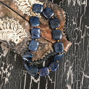 Genuine Lapis and Tigers Eye Necklace